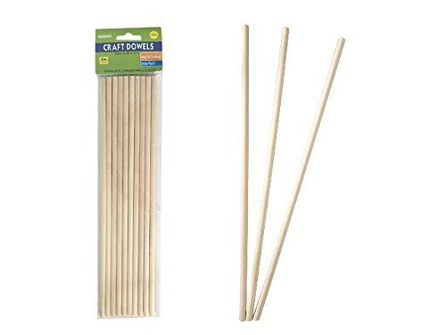 CRAFT WOODEN DOWEL 10PC Size: 0.25'' x 12''H , Case of 96