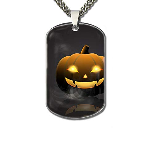 PANQJN Halloween Pumpkin with Happy Face On Dark Personalized Pet Necklace ID Tags for Dogs & Cats, Includes Protect Tag & Single-Sided Printing -