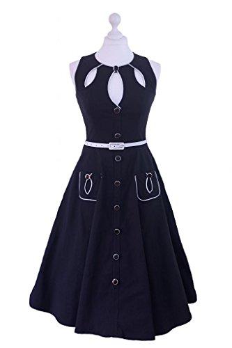 New Vintage 1950s 1960s retro Swing Rockabilly vestido té fiesta negro rosa negro