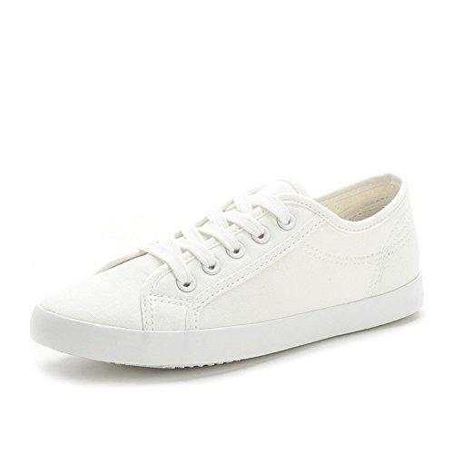 zapatos casuales silvestres de verano y otoño/planas zapatos de lona blancos de encaje literaria A