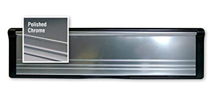 1 x Polished Silver PostPort 12' Inch Letterplate for Slim Doors or Panels (20-39mm) - Other sizes available Post Port