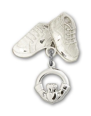 Sterling Silver Baby Badge with Claddagh Charm and Baby Boots Pin