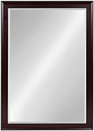 Kate and Laurel Scoop Framed Beveled Wall Mirror, 28×40, Cherry