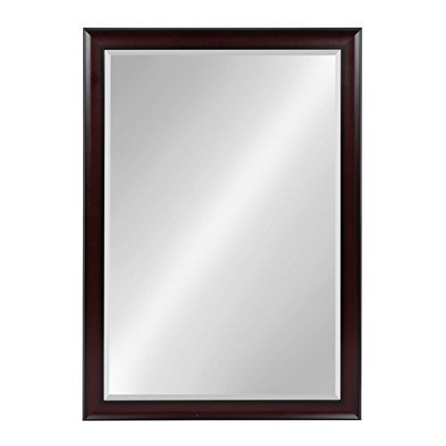 (Kate and Laurel Scoop Framed Beveled Wall Mirror, 28x40, Cherry)
