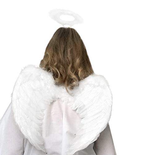 White Fairy Feather Wings And Ring For Halloween Cosplay Fancy Dress Party -