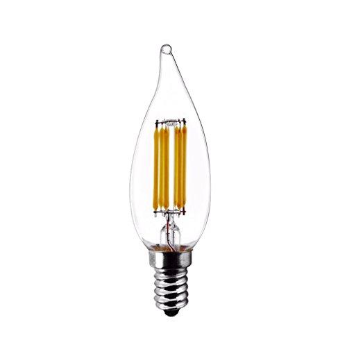 Modvera LED Candelabra Bulb Bent Tip 5 Watt 60W Equivalent Warm White 2700K E12 Base LED Chandelier Bulbs Glass Bulb, UL listed & RoHS (Bent Glass Ceiling Lighting)