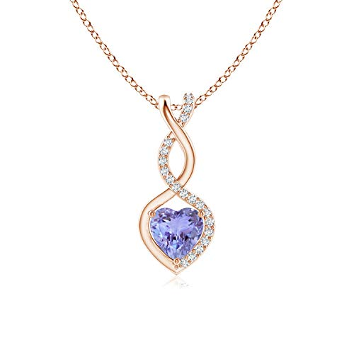 Tanzanite Infinity Heart Pendant with Diamonds in 14K Rose Gold (5mm