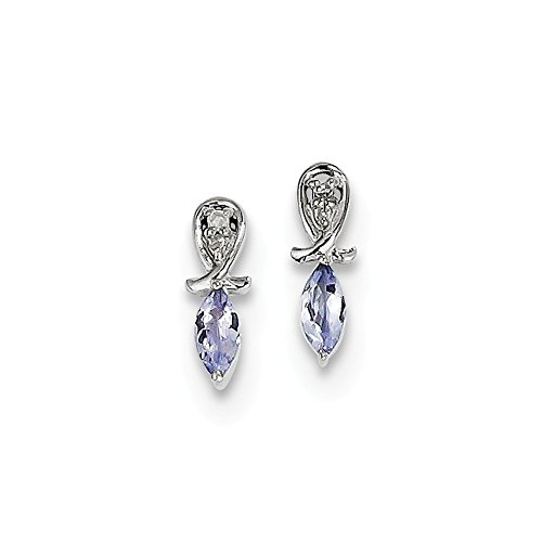 925 Sterling Silver Diamond Blue Tanzanite Marquise Post Stud Earrings Drop Dangle Fine Jewelry Gifts For Women For Her