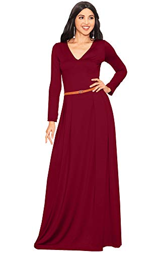 KOH KOH Petite Womens Long Full Sleeve Sleeves V-Neck Formal Fall Evening Elegant Flowy Empire Waist Modest Vintage Abaya Muslim Gown Gowns Maxi Dress Dresses, Crimson Red XS 2-4