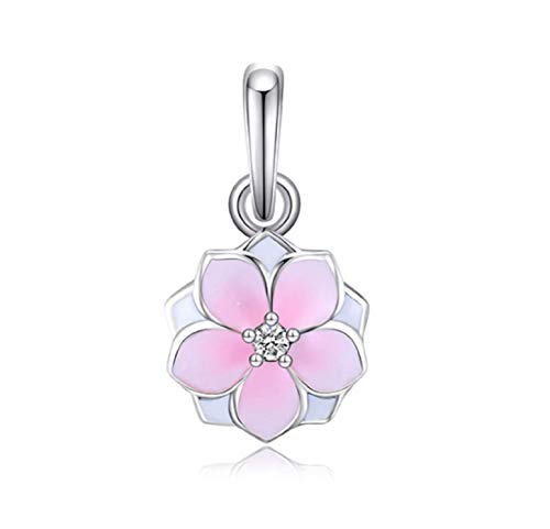 EVESCITY Many Styles Silver Pendents 925 Sterling Beads Fits Pandora, Similar Charm Bracelets & Necklaces (Magnolia Blossom Gradient Pink Enamel)