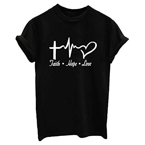 ROSEPARK Women Faith Hope Love Funny T shirt Graphic Teen Girl Tee Black Small