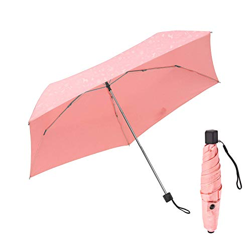 Travel Mini Umbrella BOY Small Compact Anti- UV Umbrella,Lightweight Only 7.05 Ounces,Waterproof, Easy Carry (Pink)