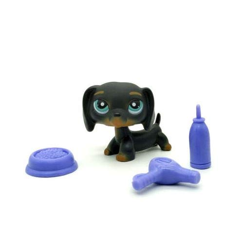 Littlest Pet Shop LPS #325 Black Dog Dachshund with Blue Eyes Puppy Chien Teckel
