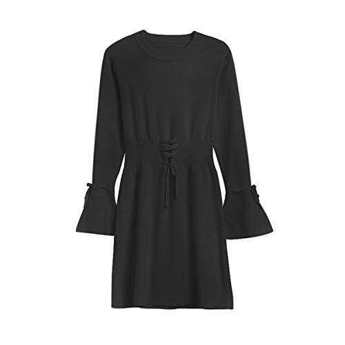 Cuello De Cisne Cordones Mujer Manga Con Mini Vestido Larga Una Flare Punto Jersey Línea Black Vestidos vwd7Raq7