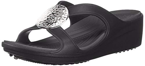 Crocs Women's Sanrah Hammered Circle Wedge Sandal, Black/Black, 11 M US (Crocs Open Toe Wedge)