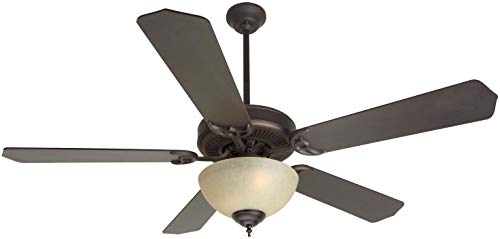 (Craftmade K10629 Downrod Mount, 5 Oiled Bronze Blades Ceiling fan with 63 watts light, Oiled Bronze)