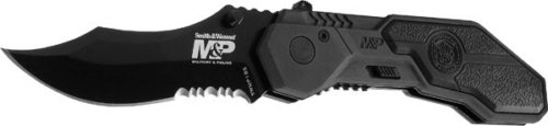 Police Military Magic - Smith & Wesson SWMP1BS Military and Police Knife with MAGIC Assisted Open and Scooped Back Serrated Blade, Black
