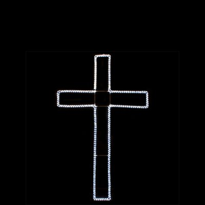 Brilliant Brand 2' Cool White LED Cross Lighted Motif Rope Light Holiday Silhouette Display
