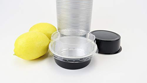 KitchenDance Disposable Aluminum Colored 5 Ounce Baking Cups #A41- Pack of 100 (Black, with Stackable Lid)