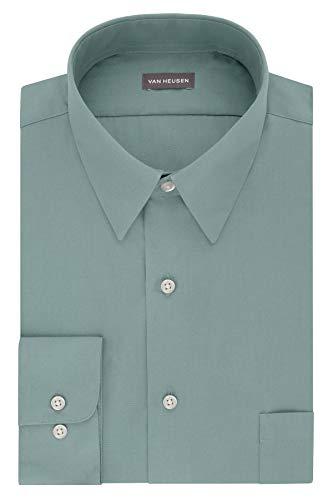 Van Heusen Men's FIT Dress Shirt Poplin Solid (Big and Tall), Ocean Mist, 18.5