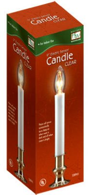 Holiday Wonderland 1528-88 9'' Clear Brass Plated ELECTRIC SENSOR (Dawn To Dusk) Window Candles - Quantity 9