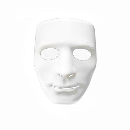 [PYD Hip-hop Street Dance Mask Halloween Masquerade Festival Costume Party Props White] (Festival Street Dance Costume)