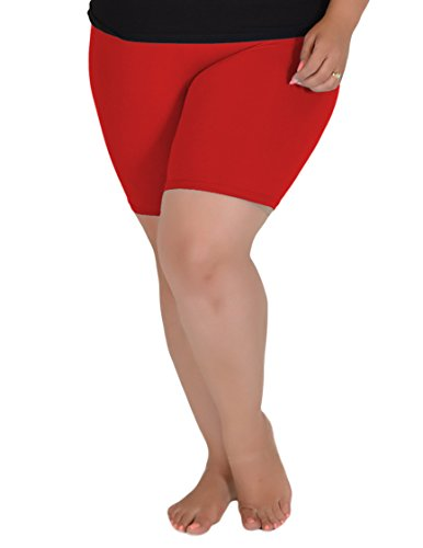 Stretch is Comfort Women's Cotton Plus Size Bike Shorts Red 2XL