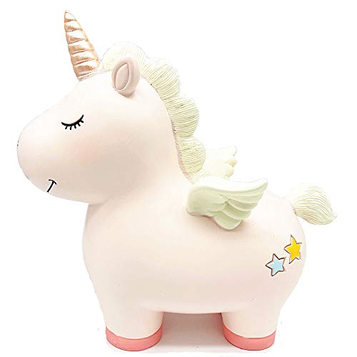 Lovely Rainbow Unicorn Large Size Resin Piggy Bank Coin Bank Money Bank Best Birthday Gifts, for Kids Boys Girls Home Decoration (Rainbow Unicorn-Pink)