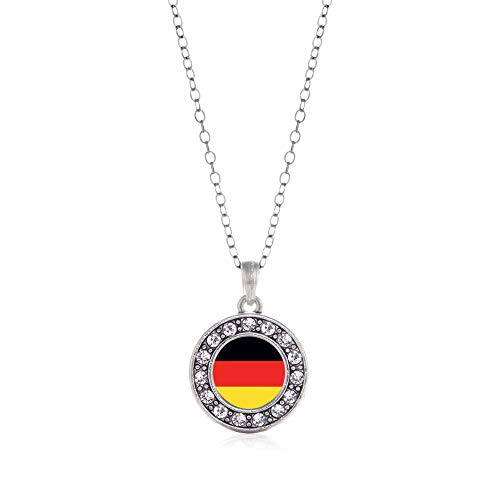 Inspired Silver - German Flag Charm Necklace for Women - Silver Circle Charm 18 Inch Necklace with Cubic Zirconia Jewelry