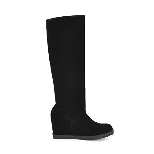 Allhqfashion Mujeres Round Closed Toe Tacones Altos Frost High-top Solid Botas Negro