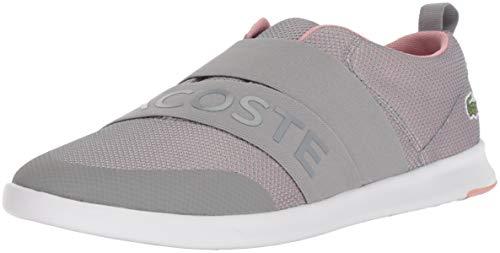 (Lacoste Women's AVENIR SLIP Sneaker, grey/pink textile, 9 Medium)