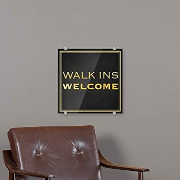 5-Pack 16x16 CGSignLab Walk Ins Welcome Classic Gold Premium Acrylic Sign