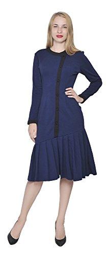 [Marycrafts Womens Drop Waist Midi Dress Retro Vintage Flapper 1920s 8 Dark Blue] (Dress 1920s)