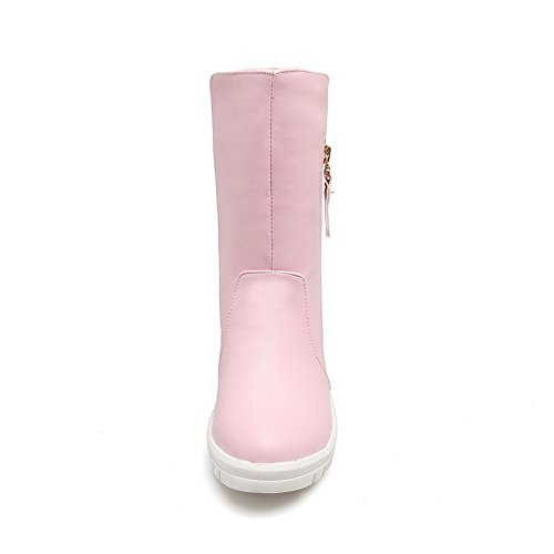 Mid Round Zip ABL10493 Velvet Womens Urethane Boots nbsp; Pink Calf BalaMasa nbsp;Lining Toe Cw5qt8