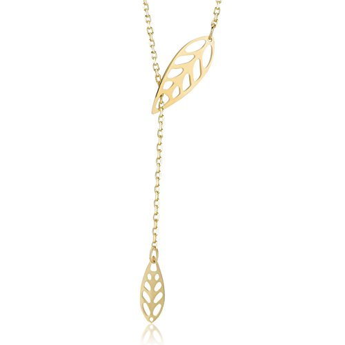 Gelin 14k Yellow Gold Leaf Drop Pendant Y Necklace for Women, 18 inches