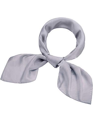 Satinior Chiffon Scarf Square Handkerchief Satin Ribbon Scarf Neck Scarf for Women Girls Ladies Favor (23.6 x 23.6 inches, Silver Grey)