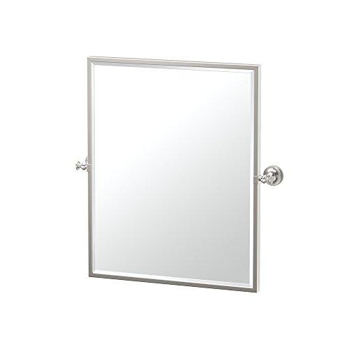"Gatco 4129FSM Tavern Framed Small Rectangle Mirror Polished Nickel, 25""H"