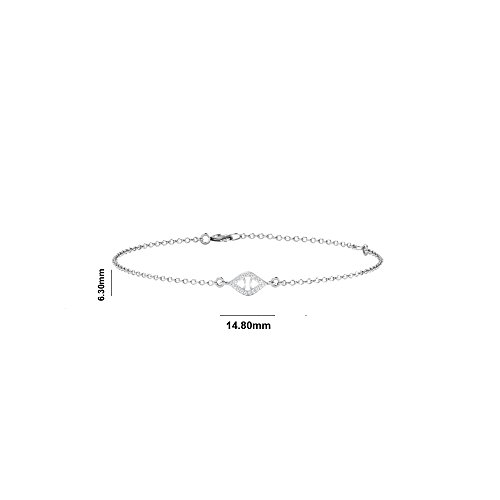 Libertini bracelet argent 925 femme plaque or Rose serti de Diamant