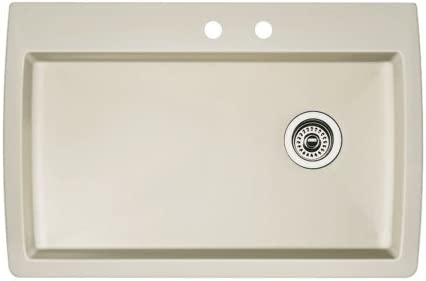 Blanco 440196-2 Diamond 2-Hole Single-Basin Drop-In or Undermount Granite Kitchen Sink, Biscuit