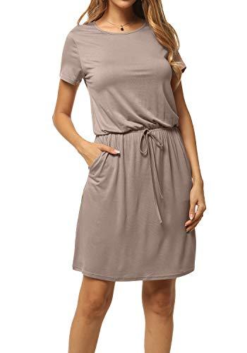 levaca Women's Plain Solid Short Sleeve Casual Short Dress with Pockets Khaki L ()
