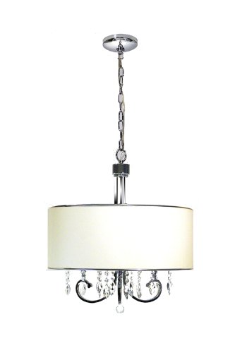 Marquis Lighting 7153-301-PC-WH Chandeliers with Off-White Linen Shades, Polished Chrome