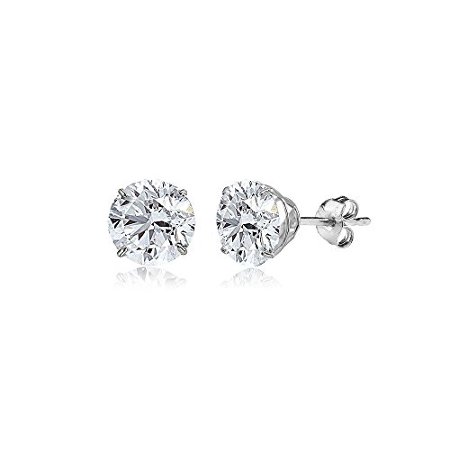 14K White Gold Round-Cut Solitaire Prong-set Stud Earrings for Women or Girls