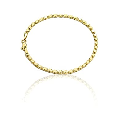 """10k Yellow Gold Relationship and Friendship Mirror Chain Hand and Ankle Bracelet with Heart Charms, 0.12"""""""