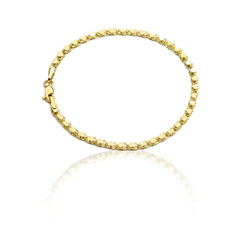 7 Inch 10k Yellow Gold Mirror Chain Bracelet with Double Side Heart Charms for Women and Girls - Bangle 10k Gold