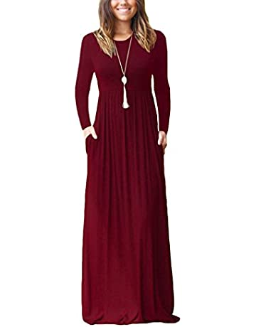 11b7664e722c DEARCASE Women Long Sleeve Loose Plain Maxi Pockets Dresses Casual Long  Dresses