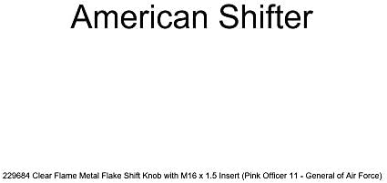 American Shifter 229650 Clear Flame Metal Flake Shift Knob with M16 x 1.5 Insert Red Officer 04 - Major and Lt. Colonel