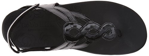 Rockport Cobb Hill Women's Ramona-CH Flat Sandal, Black Patent, 6.5 M US