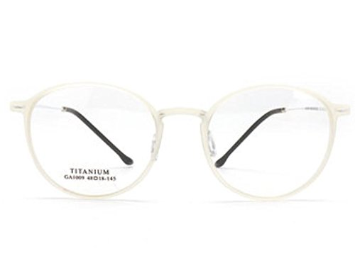 Titanium Alloy& Board Glasses Frame IP Vacuum Plating Process by ShopIdea - Plain Lenses Contact White