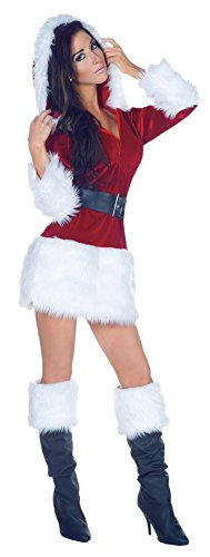 GTH Women's Sexy All Wrapped Up Santa Holiday Christmas Party Costume, M (6-8) (Sexy Disney Villains)