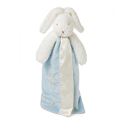 Bunnies by the Bay Bud's Buddy Blanket, Blue Bunny (Touch Receiving Satin Blanket)